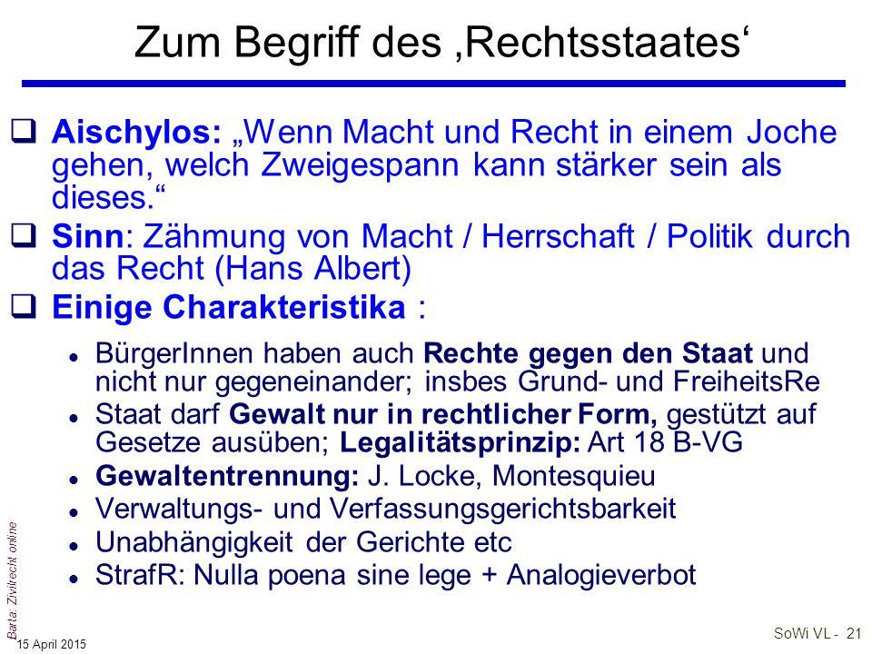 SoWi VL - 20 Barta: Zivilrecht online 'Verfassung' als rechtliche Grundordnung (2) qDie Verfassung stellt das rechtliche und organisatorische Fundamen