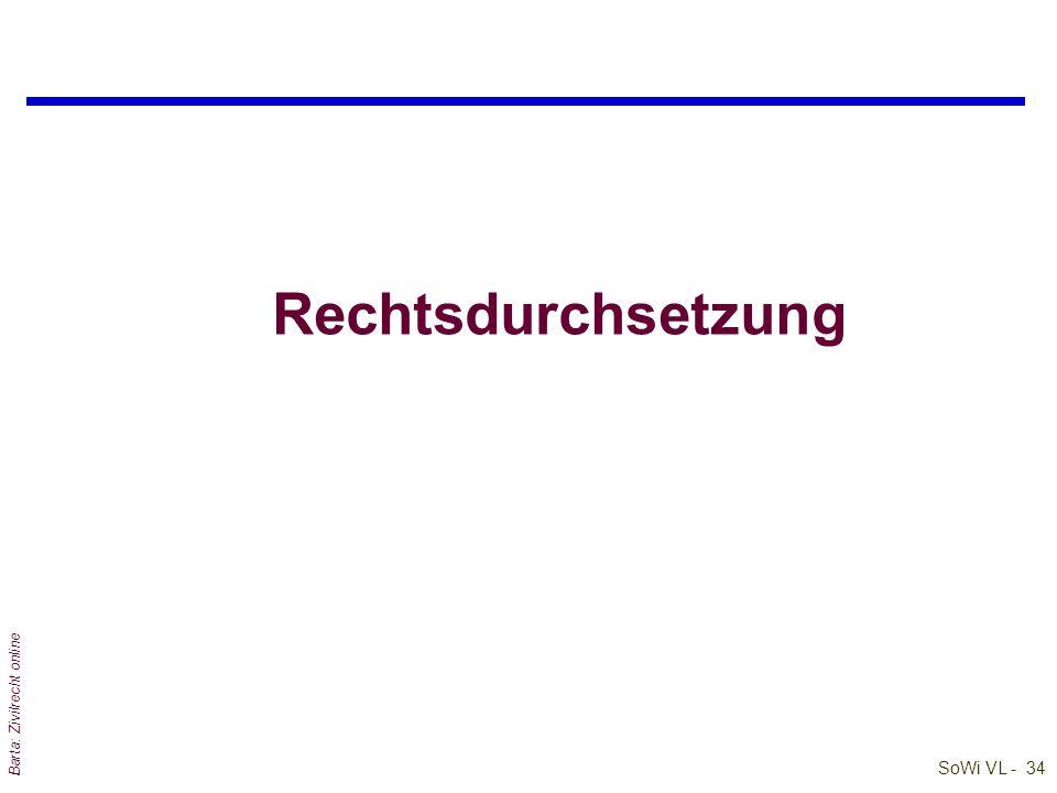 SoWi VL - 33 Barta: Zivilrecht online Funktionen des Rechts (3) qNormen/ Paragraphen/ Rechtsvorschriften sind Wegweiser für menschliches Verhalten; denn: l nicht die Sanktion (der Norm) steht im Vordergrund, l sondern ihre Orientierungsfunktion; E.