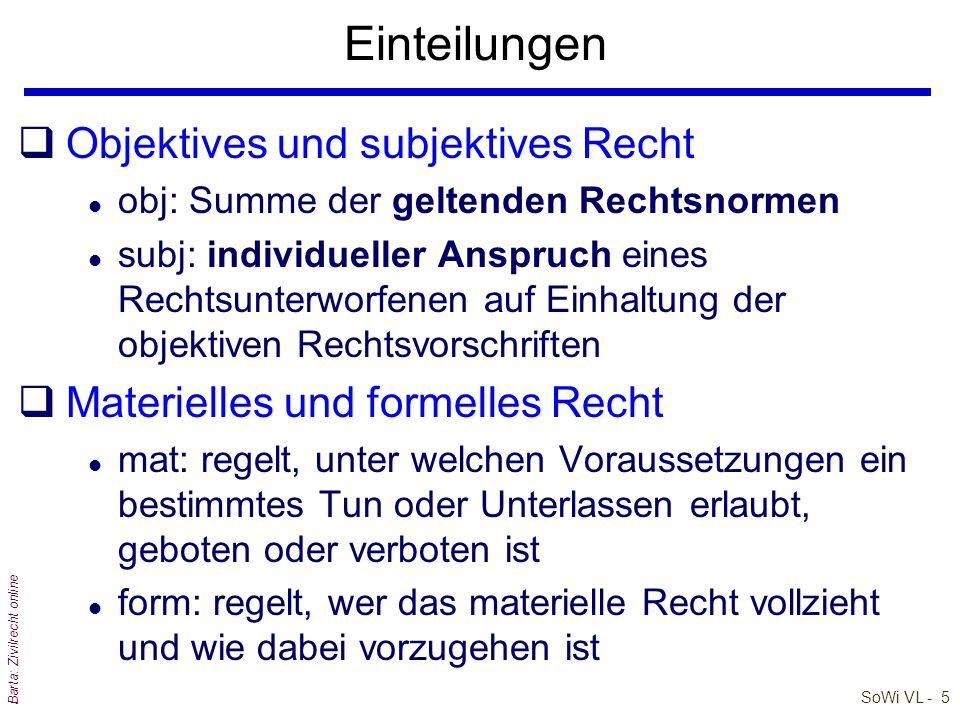 SoWi VL - 4 Barta: Zivilrecht online Große Bereiche der Rechtswissenschaft PrivatrechtÖffentliches RechtSonderdisziplinen Allg PrivatR: ABGB Sonderpri