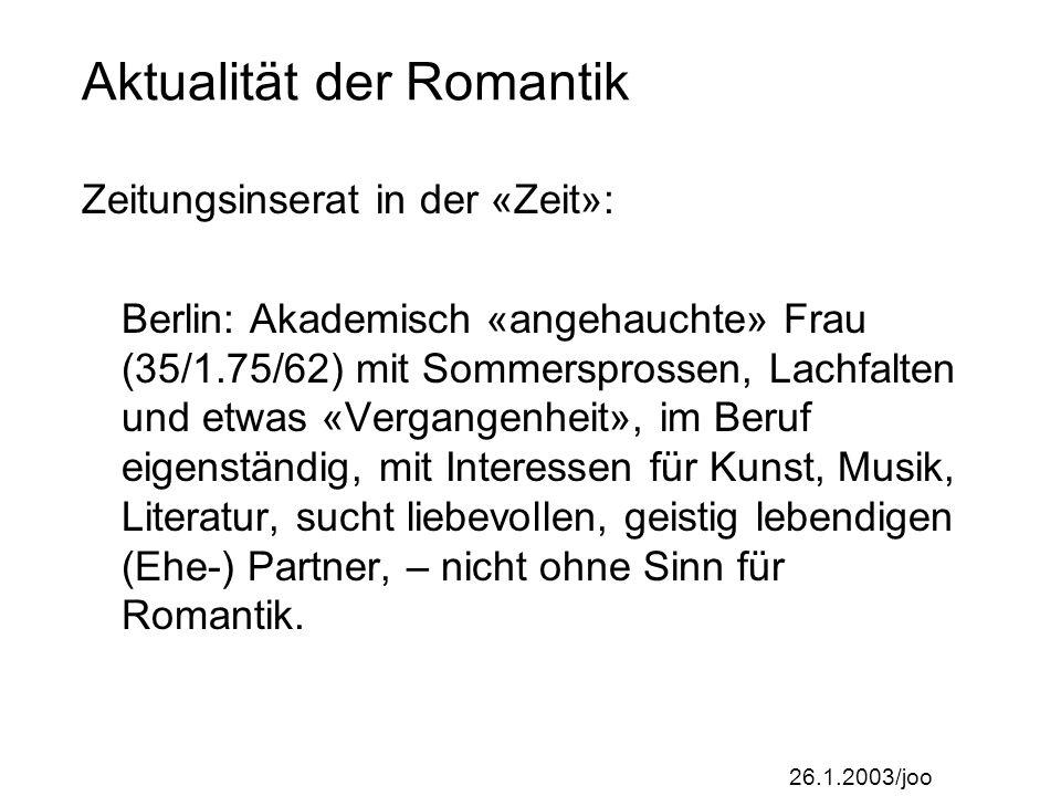 26.1.2003/joo Vorbesprechung Semesterarbeit Zum Profil der Semesterarbeit: vgl.