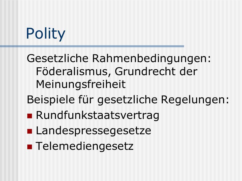 Polity Gesetzliche Rahmenbedingungen: Föderalismus, Grundrecht der Meinungsfreiheit Beispiele für gesetzliche Regelungen: Rundfunkstaatsvertrag Landes