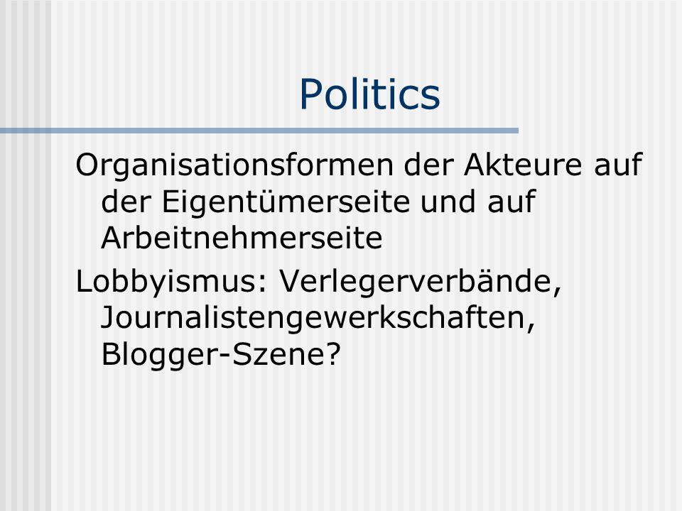 Politics Organisationsformen der Akteure auf der Eigentümerseite und auf Arbeitnehmerseite Lobbyismus: Verlegerverbände, Journalistengewerkschaften, B
