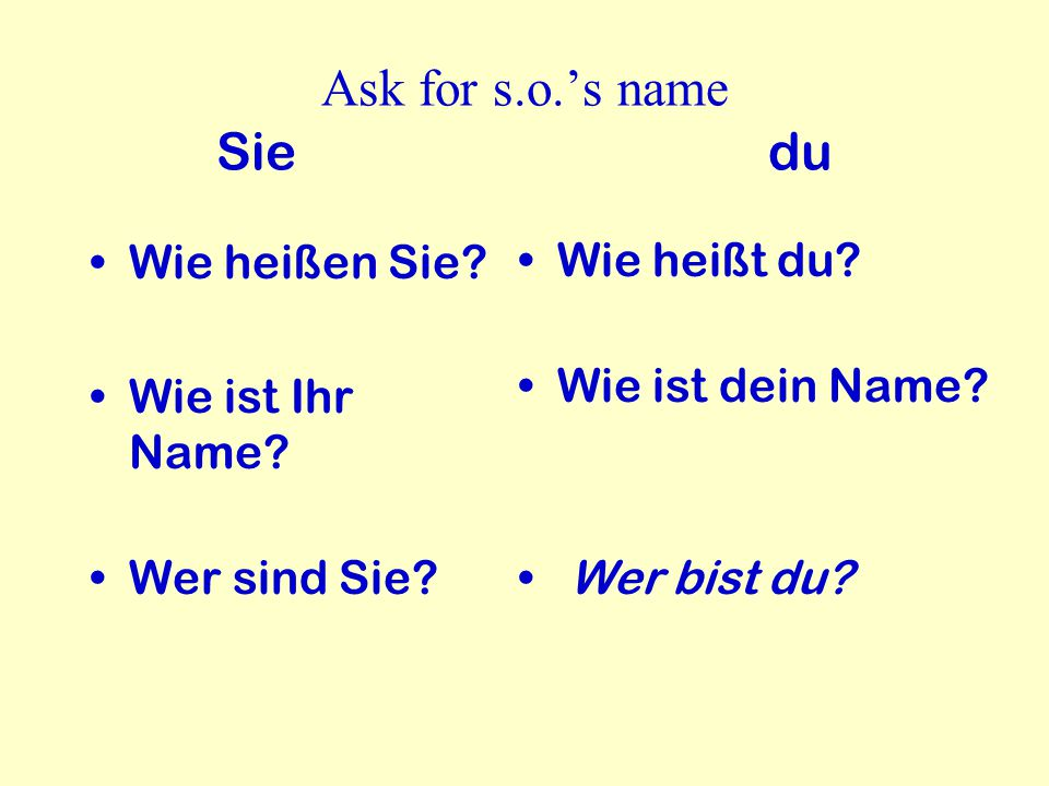 In German, how do you greet someone.