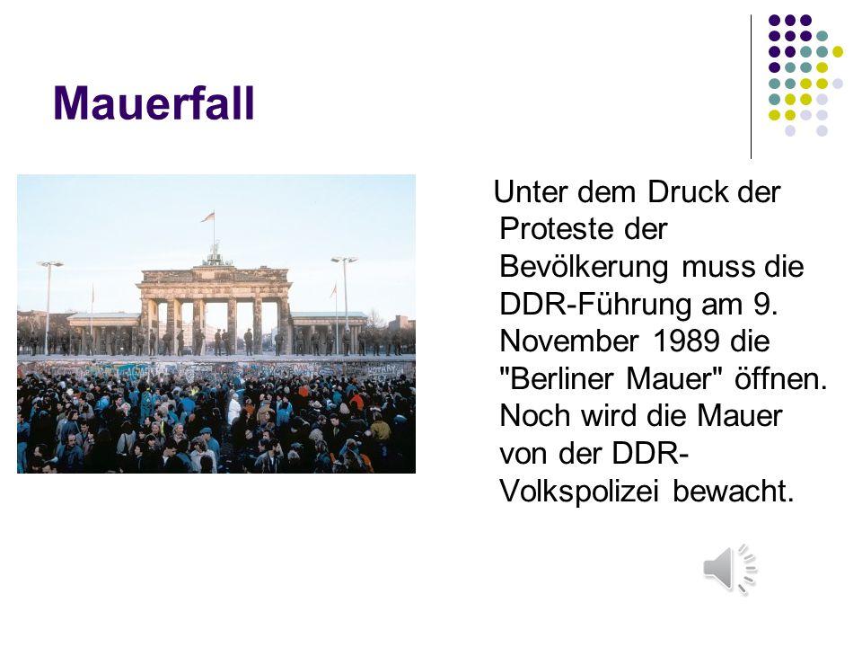 Mauerfall Unter dem Druck der Proteste der Bevölkerung muss die DDR-Führung am 9. November 1989 die