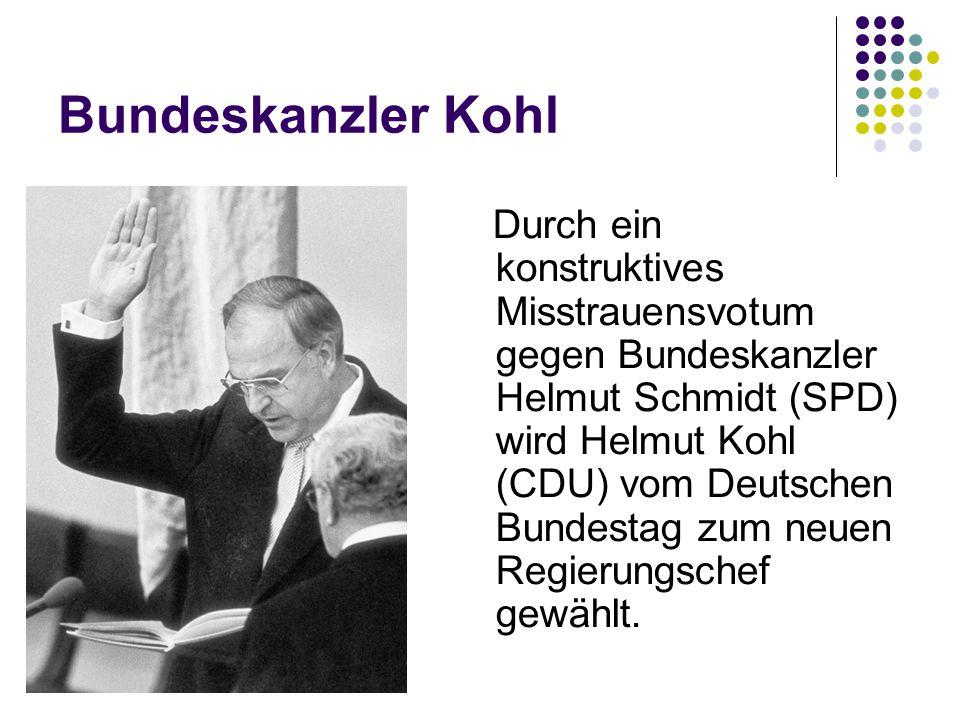 Bundeskanzler Kohl Durch ein konstruktives Misstrauensvotum gegen Bundeskanzler Helmut Schmidt (SPD) wird Helmut Kohl (CDU) vom Deutschen Bundestag zu
