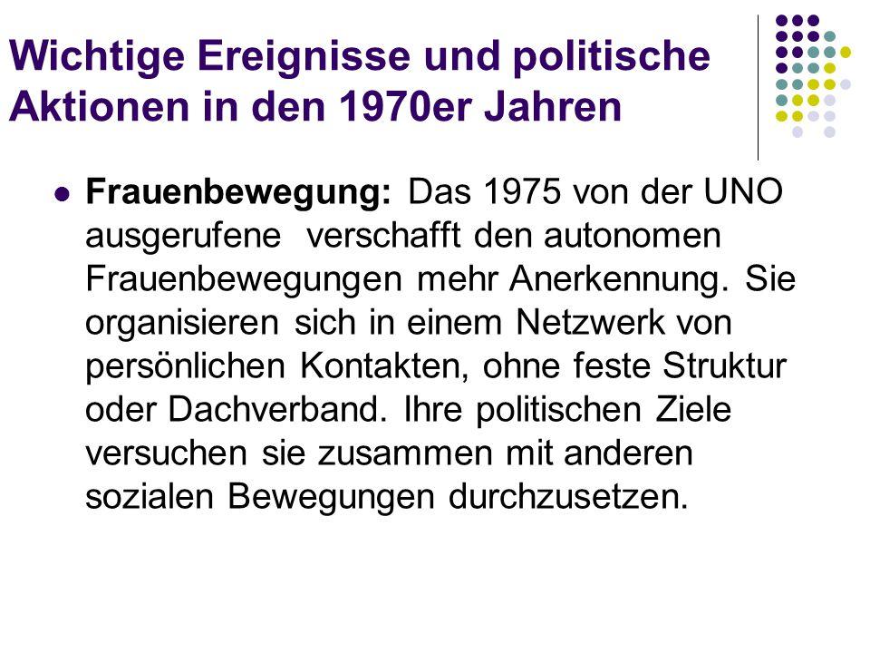 Wichtige Ereignisse und politische Aktionen in den 1970er Jahren Frauenbewegung: Das 1975 von der UNO ausgerufene verschafft den autonomen Frauenbeweg