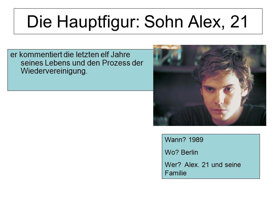 Die Hauptfigur: Sohn Alex, 21 er kommentiert die letzten elf Jahre seines Lebens und den Prozess der Wiedervereinigung. Wann? 1989 Wo? Berlin Wer? Ale