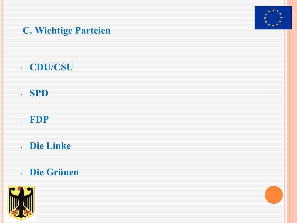 - CDU/CSU - SPD - FDP - Die Linke - Die Grünen C. Wichtige Parteien
