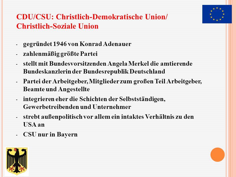 - gegründet 1946 von Konrad Adenauer - zahlenmäßig größte Partei - stellt mit Bundesvorsitzenden Angela Merkel die amtierende Bundeskanzlerin der Bund