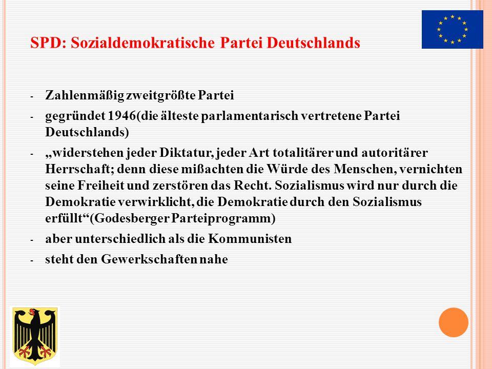 """- Zahlenmäßig zweitgrößte Partei - gegründet 1946(die älteste parlamentarisch vertretene Partei Deutschlands) - """"widerstehen jeder Diktatur, jeder Art"""
