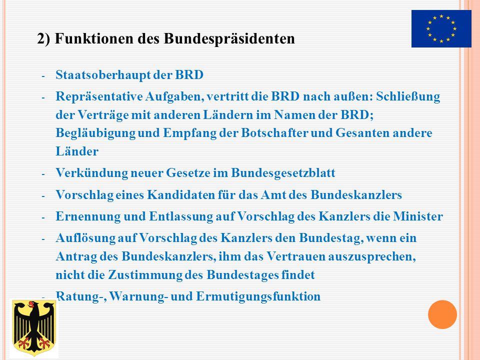 - Staatsoberhaupt der BRD - Repräsentative Aufgaben, vertritt die BRD nach außen: Schließung der Verträge mit anderen Ländern im Namen der BRD; Begläu