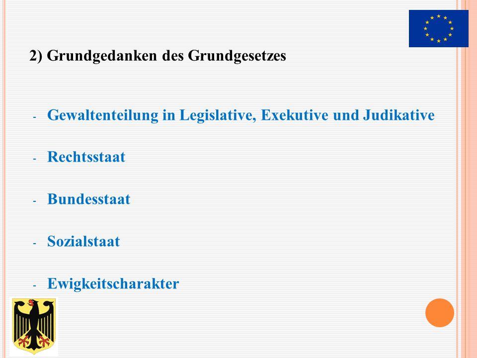- bestimmt die Richtlinien der Politik und trägt dafür die Verantwortung - gewählt auf Vorschlag des Bundespräsidenten von der Mehrheit des Bundestags - Bundesminister werden vom Bundespräsidenten auf Vorschlag des Bundeskanzlers ernannt - wird erst gestürzt, wenn ihm der Bundestag das Mißtrauen dadurch ausspricht, dass dieser mit der Mehrheit seiner Mitglieder einen neuen Bundeskanzler wählt 2) Bundeskanzler