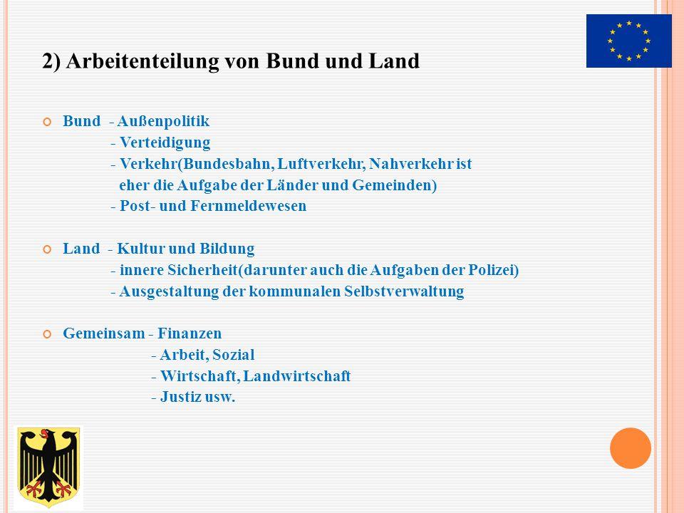 Bund - Außenpolitik - Verteidigung - Verkehr(Bundesbahn, Luftverkehr, Nahverkehr ist eher die Aufgabe der Länder und Gemeinden) - Post- und Fernmeldew