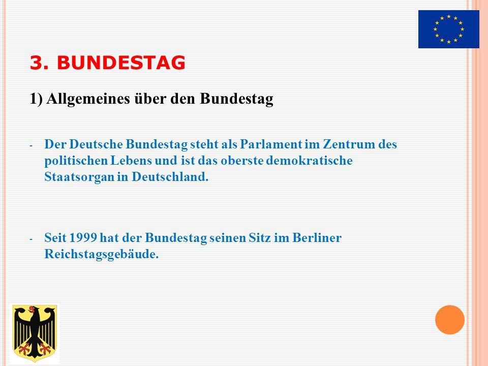 - Beratung und Beschließung der Gesetze - - Wahl des Bundeskanzlers - Mitwirkung bei der Wahl des Bundespräsidenten - - Kontrollfunktion der Regierung und Verwaltung gegenüber 2) Hauptfunktionen des Bundestages