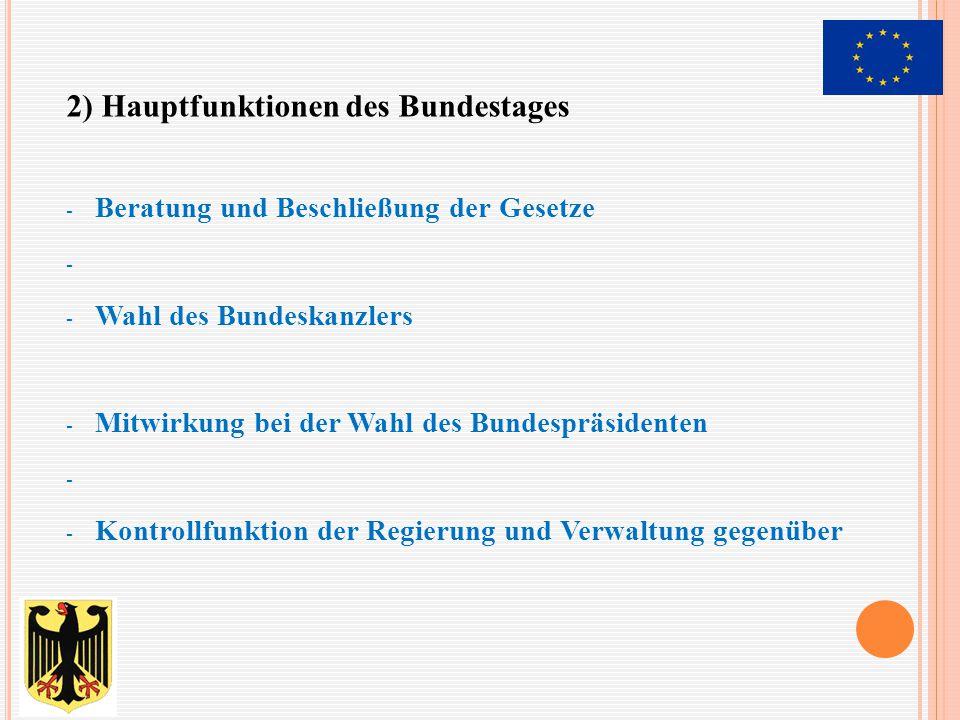- Beratung und Beschließung der Gesetze - - Wahl des Bundeskanzlers - Mitwirkung bei der Wahl des Bundespräsidenten - - Kontrollfunktion der Regierung