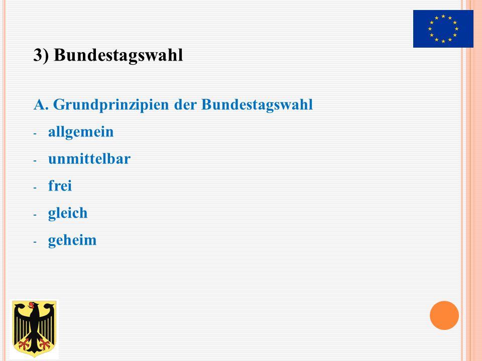 - findet alle 4 Jahre statt - 299 Bundestagsmandate aus 299 Wahlkreisen - die andere Hälfte über die Landeslisten der Parteien - Überhangmandate - Fünf-Prozent-Hürde(Sperrklausel) - Grundmandatsklausel B.