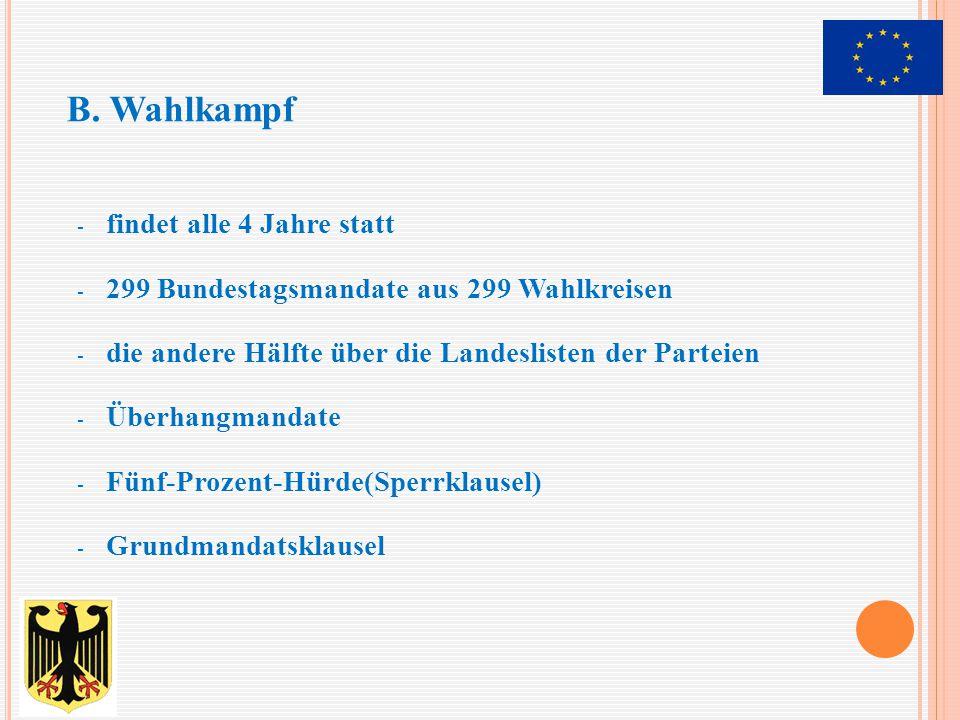- findet alle 4 Jahre statt - 299 Bundestagsmandate aus 299 Wahlkreisen - die andere Hälfte über die Landeslisten der Parteien - Überhangmandate - Fün