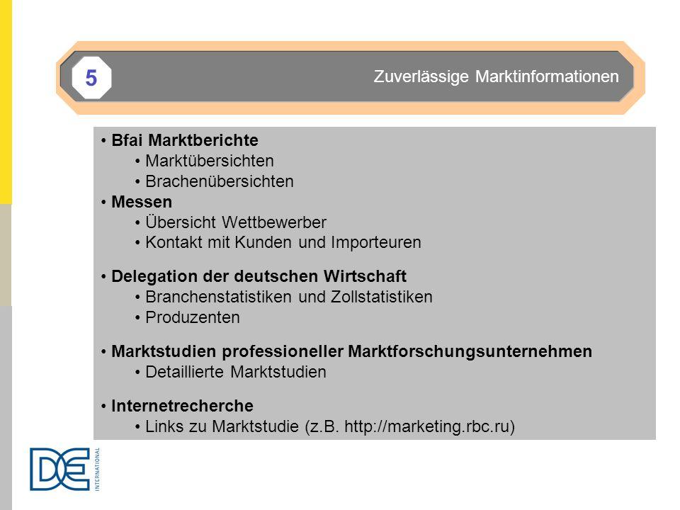 Zuverlässige Marktinformationen 5 Bfai Marktberichte Marktübersichten Brachenübersichten Messen Übersicht Wettbewerber Kontakt mit Kunden und Importeu