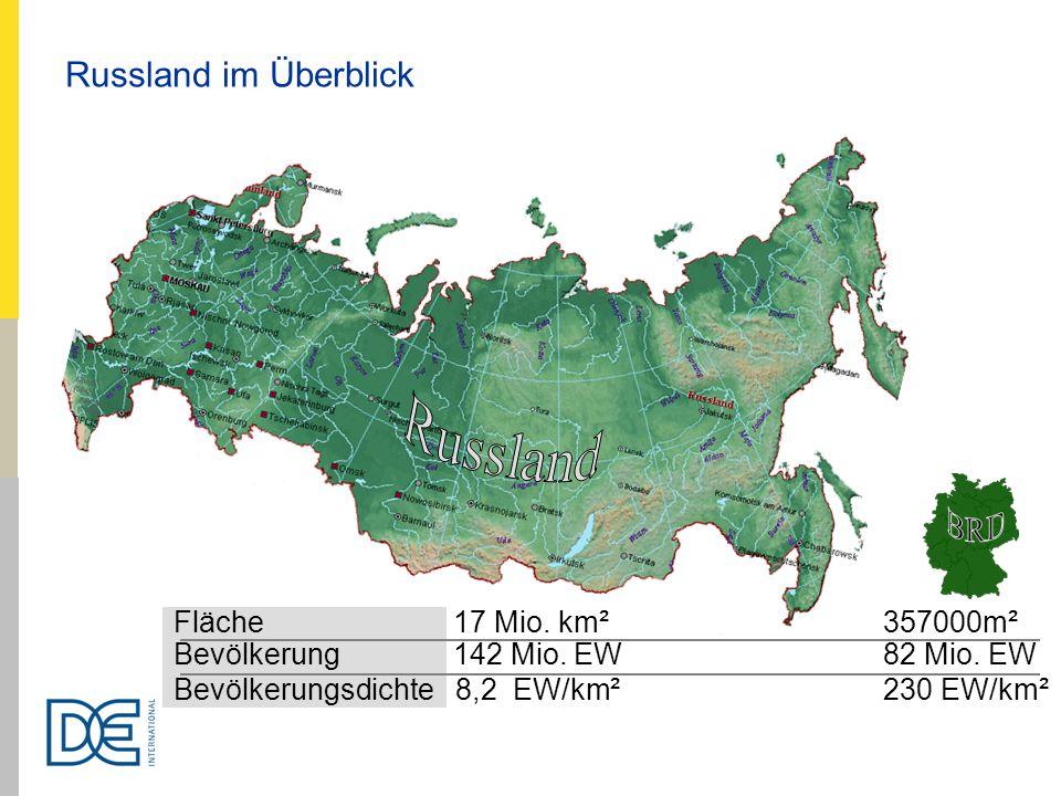 Fläche 17 Mio. km² 357000m² Bevölkerung 142 Mio. EW 82 Mio. EW Bevölkerungsdichte 8,2 EW/km² 230 EW/km² Russland im Überblick