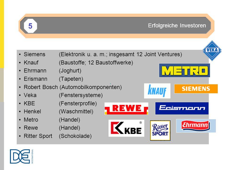Siemens (Elektronik u. a. m.; insgesamt 12 Joint Ventures) Knauf (Baustoffe; 12 Baustoffwerke) Ehrmann (Joghurt) Erismann(Tapeten) Robert Bosch (Autom