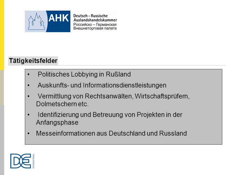 Politisches Lobbying in Rußland Auskunfts- und Informationsdienstleistungen Vermittlung von Rechtsanwälten, Wirtschaftsprüfern, Dolmetschern etc. Iden
