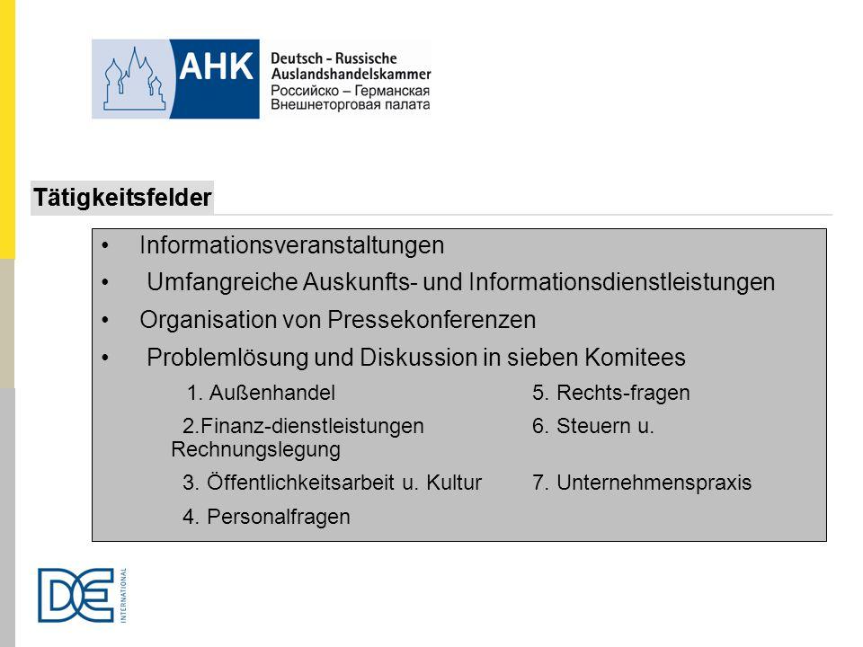 Informationsveranstaltungen Umfangreiche Auskunfts- und Informationsdienstleistungen Organisation von Pressekonferenzen Problemlösung und Diskussion i