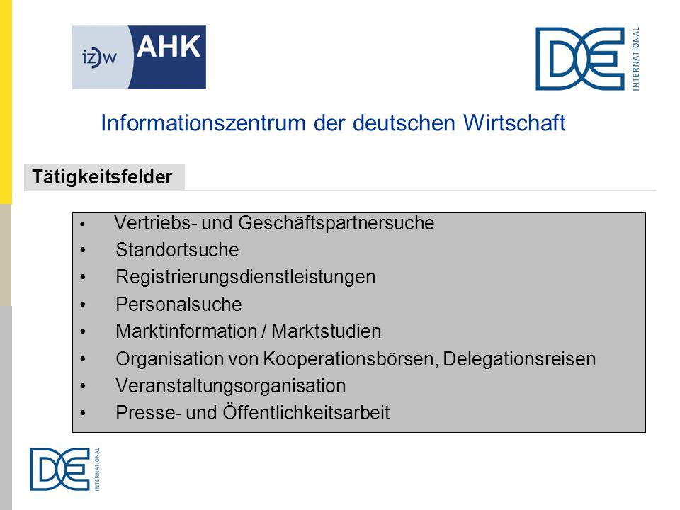 Vertriebs- und Geschäftspartnersuche Standortsuche Registrierungsdienstleistungen Personalsuche Marktinformation / Marktstudien Organisation von Koope