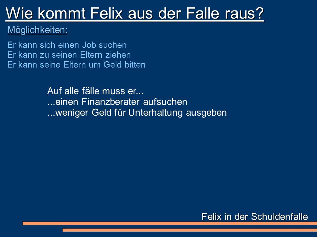Felix in der Schuldenfalle Wie kommt Felix aus der Falle raus.