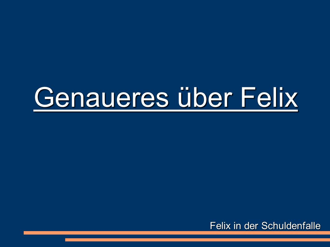 Felix in der Schuldenfalle Genaueres über Felix
