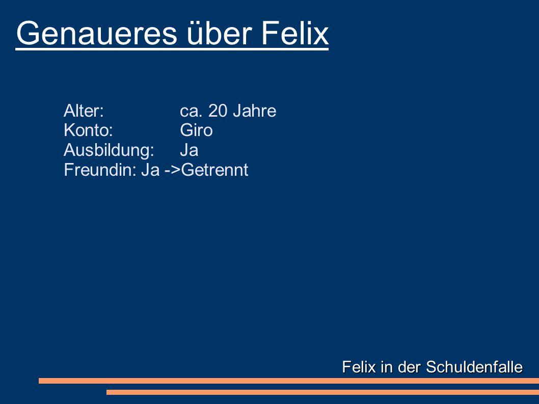 Felix in der Schuldenfalle Genaueres über Felix Alter: ca.