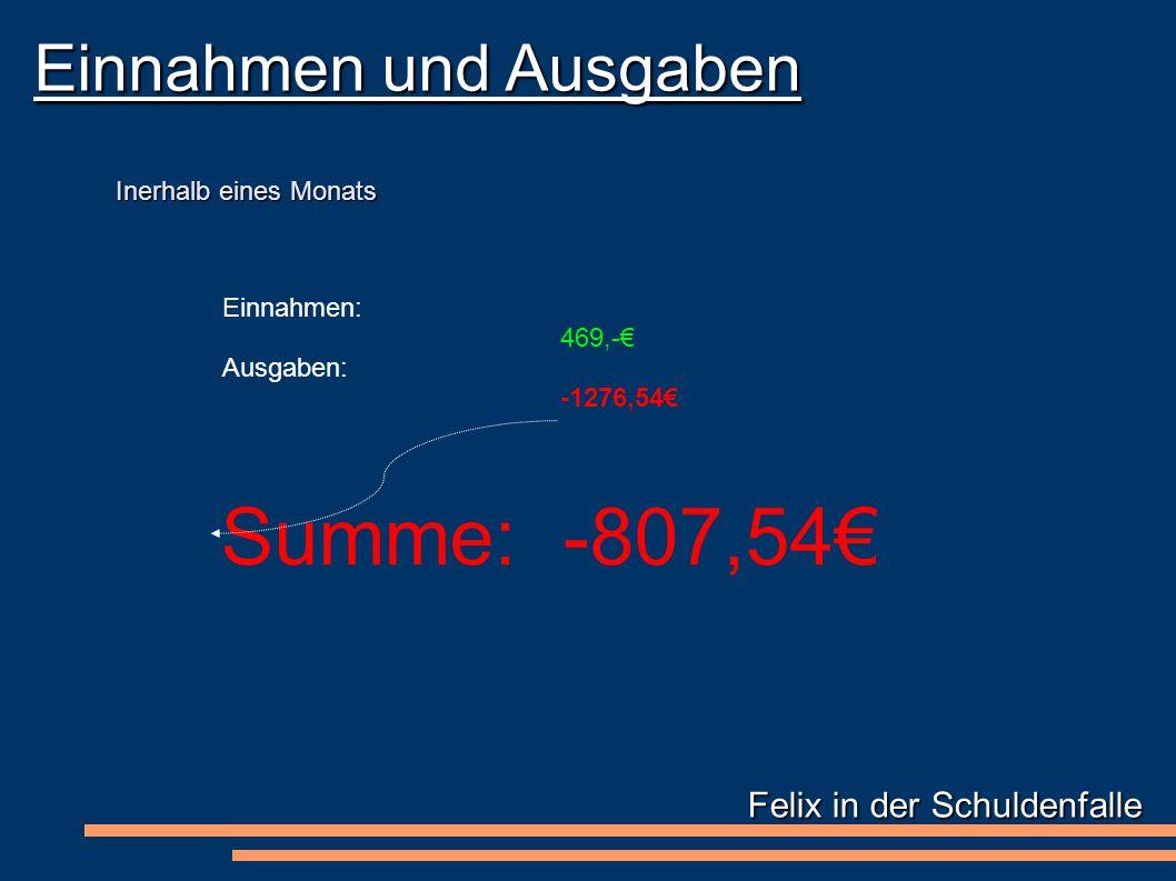 Felix in der Schuldenfalle Einnahmen und Ausgaben Einnahmen: 469,-€ Ausgaben: -1276,54€ Inerhalb eines Monats Summe: -807,54€