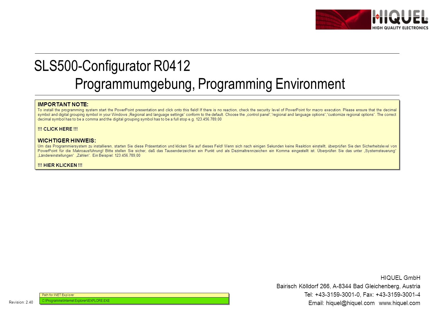 Revision: 2.40 Page 2 Title: Configuration Defining your configuration DI1: DI2: DI3: DI4: DI5: DI6: DI7: DI8: DO1: DO2: DO3: DO4: DO5: DO6: AI1: AI2: AI3: AI4: POTI1: POTI2: SLS500-R