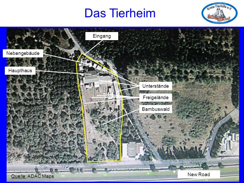 Das Tierheim Quelle: ADAC Maps Haupthaus Nebengebäude Unterstände Freigelände Bambuswald Eingang New Road