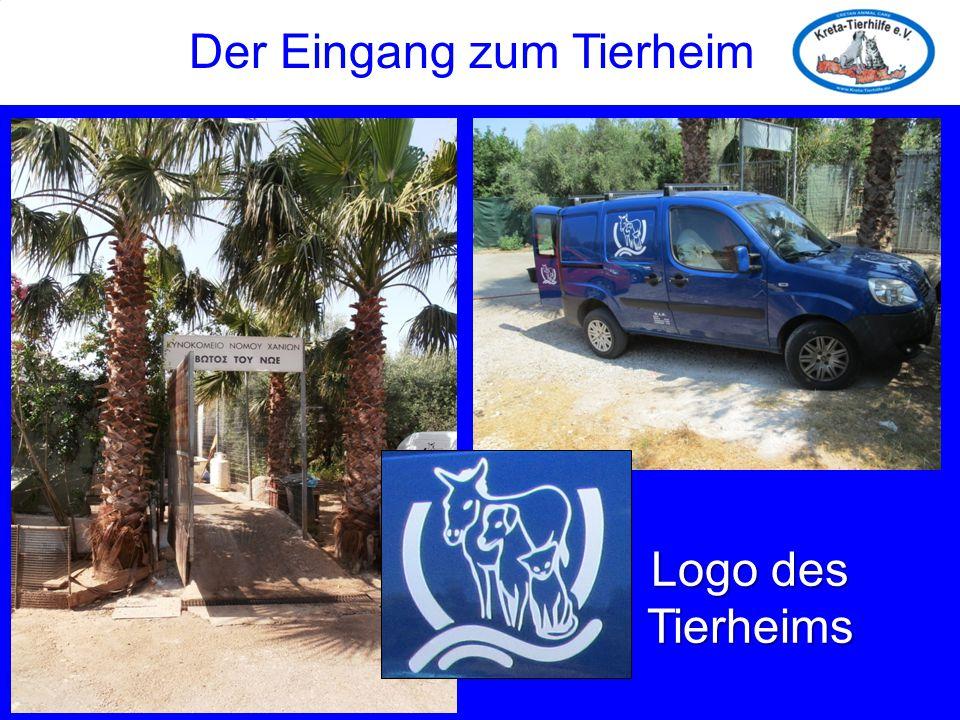 Der Eingang zum Tierheim Logo des Tierheims