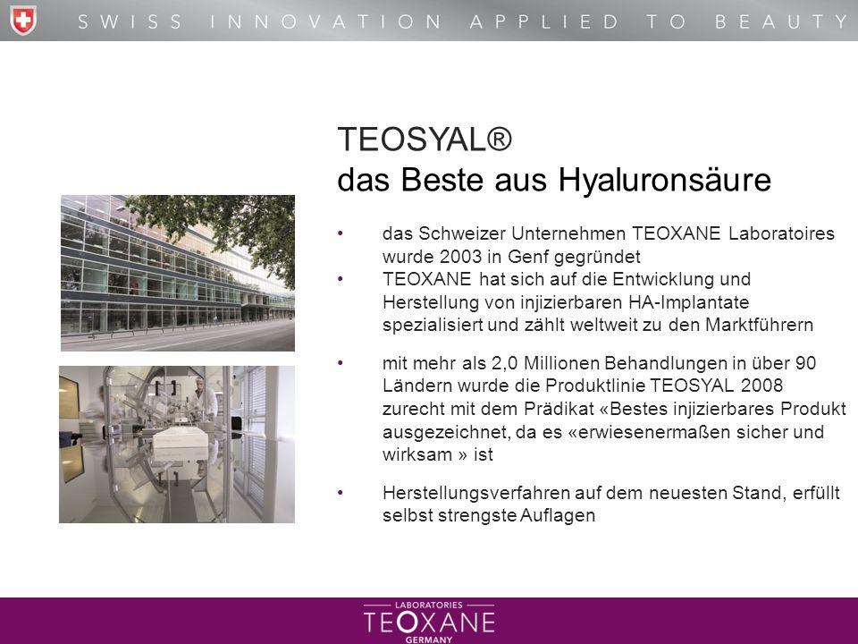 T H E B E S T O F H Y A L U R O N I C A C I D TEOSYAL® das Beste aus Hyaluronsäure das Schweizer Unternehmen TEOXANE Laboratoires wurde 2003 in Genf g