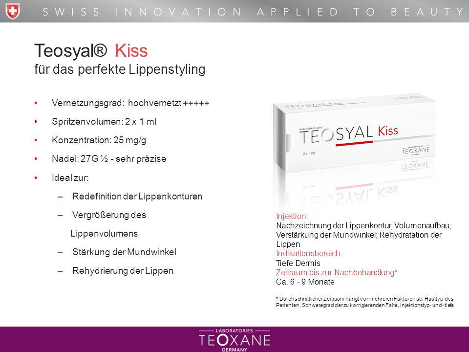 T H E B E S T O F H Y A L U R O N I C A C I D Teosyal® Kiss für das perfekte Lippenstyling Vernetzungsgrad: hochvernetzt +++++ Spritzenvolumen: 2 x 1