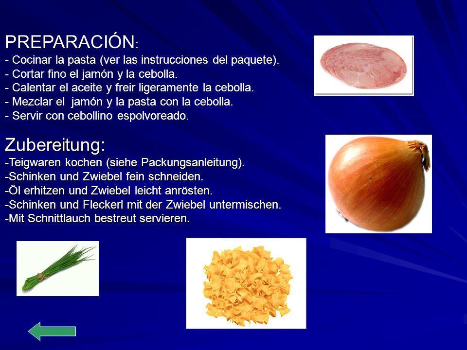 PREPARACIÓN : - Cocinar la pasta (ver las instrucciones del paquete). - Cortar fino el jamón y la cebolla. - Calentar el aceite y freir ligeramente la
