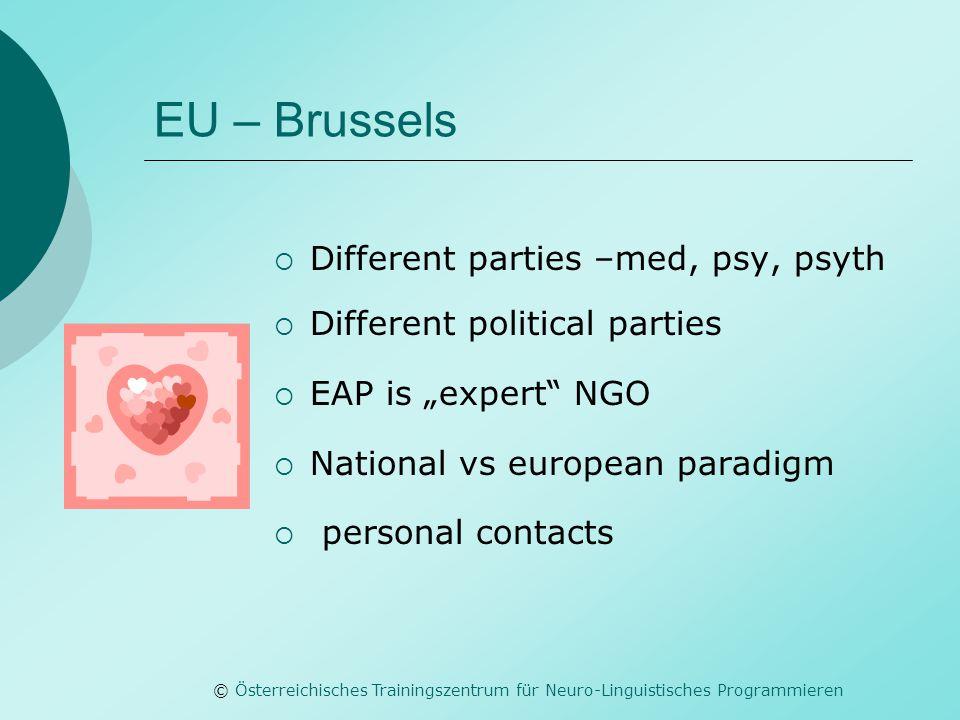 © Österreichisches Trainingszentrum für Neuro-Linguistisches Programmieren EU – Brussels  Different parties –med, psy, psyth  Different political pa