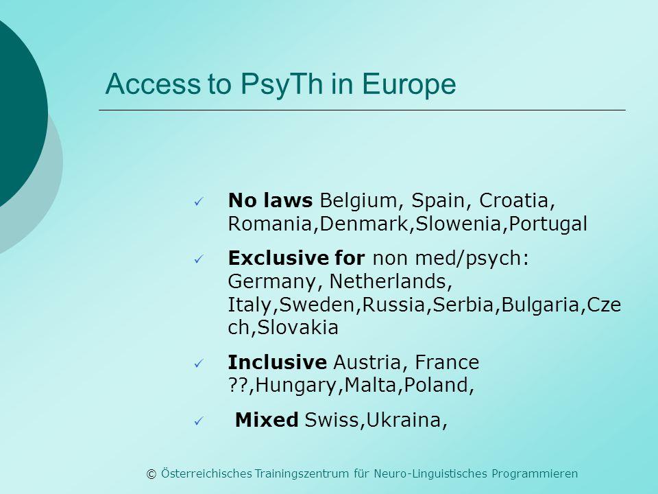 © Österreichisches Trainingszentrum für Neuro-Linguistisches Programmieren Access to PsyTh in Europe No laws Belgium, Spain, Croatia, Romania,Denmark,