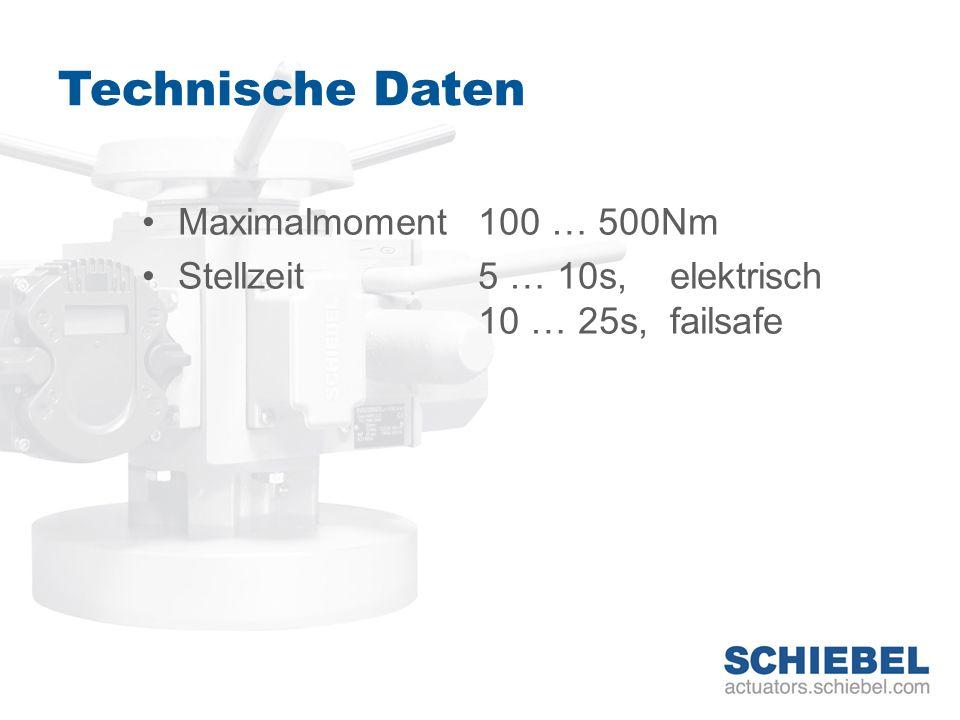 Technische Daten Maximalmoment 100 … 500Nm Stellzeit 5 … 10s, elektrisch 10 … 25s, failsafe