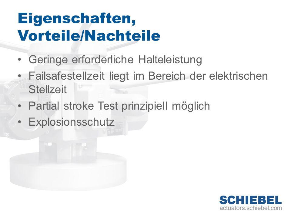 Eigenschaften, Vorteile/Nachteile Geringe erforderliche Halteleistung Failsafestellzeit liegt im Bereich der elektrischen Stellzeit Partial stroke Tes