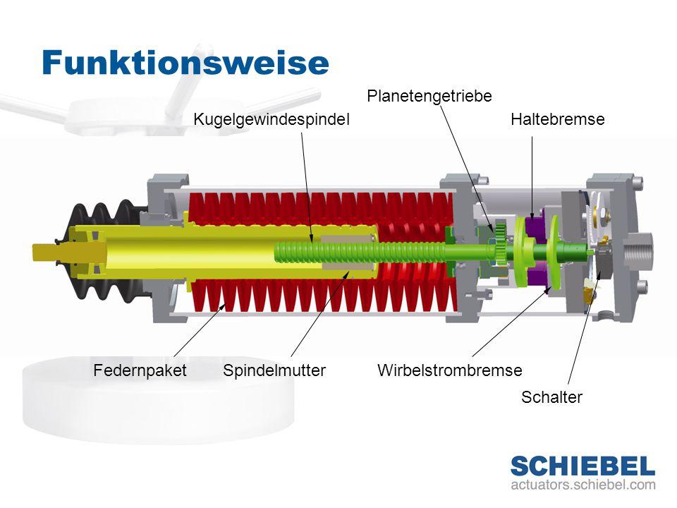 Funktionsweise Planetengetriebe Wirbelstrombremse Kugelgewindespindel Federnpaket Haltebremse Schalter Spindelmutter