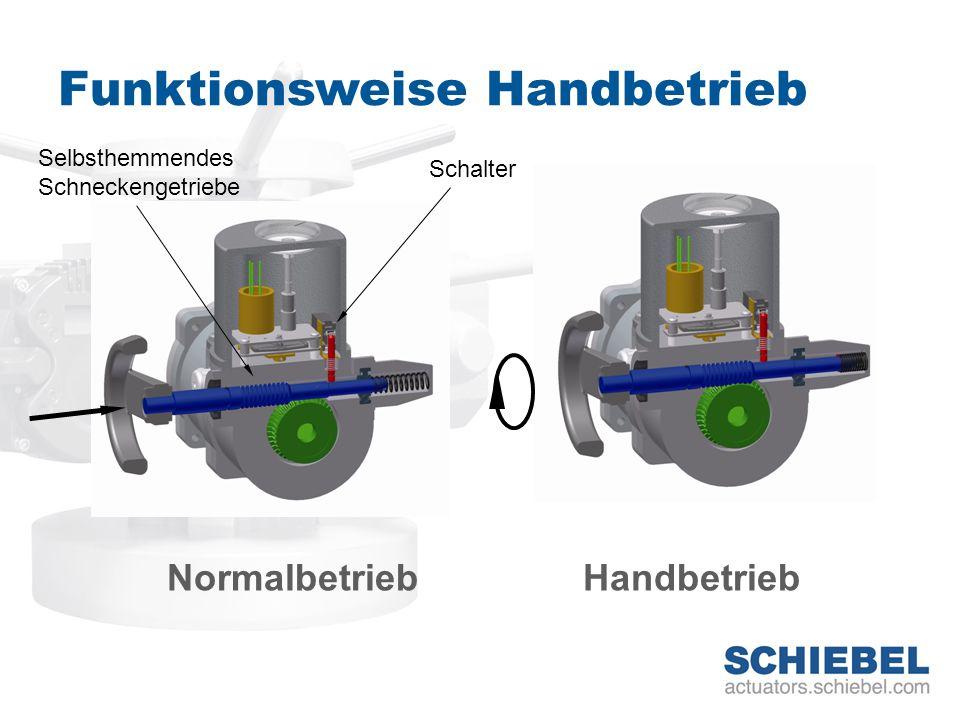 Funktionsweise Handbetrieb NormalbetriebHandbetrieb Selbsthemmendes Schneckengetriebe Schalter
