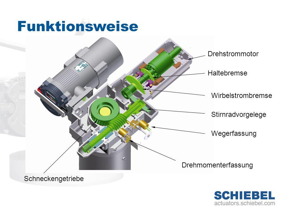 Funktionsweise Schneckengetriebe Drehstrommotor Haltebremse Wirbelstrombremse Wegerfassung Drehmomenterfassung Stirnradvorgelege