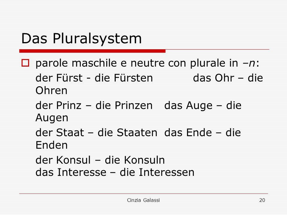 Das Pluralsystem  parole maschile e neutre con plurale in –n: der Fürst - die Fürstendas Ohr – die Ohren der Prinz – die Prinzendas Auge – die Augen