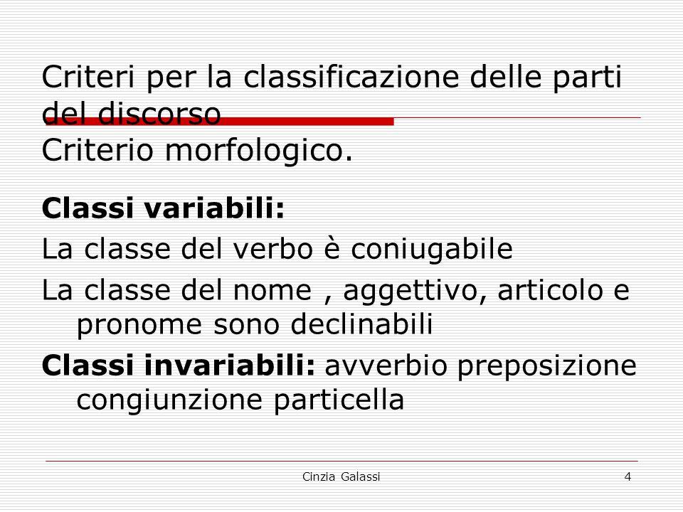 Criteri per la classificazione delle parti del discorso Criterio morfologico. Classi variabili: La classe del verbo è coniugabile La classe del nome,
