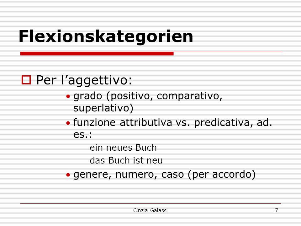  Per l'aggettivo: grado (positivo, comparativo, superlativo) funzione attributiva vs. predicativa, ad. es.: ein neues Buch das Buch ist neu genere