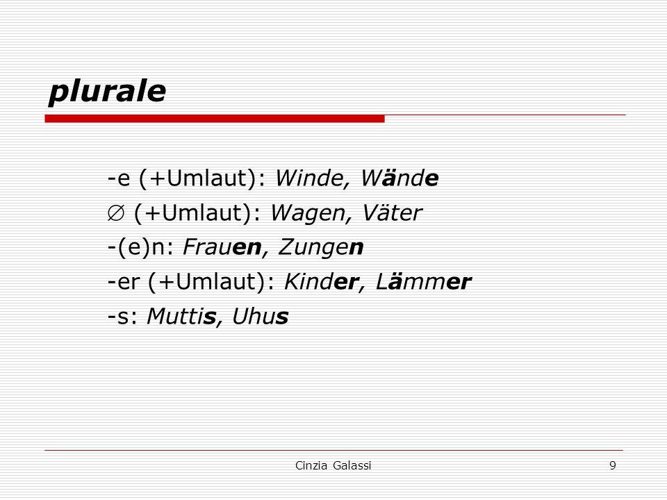plurale -e (+Umlaut): Winde, Wände  (+Umlaut): Wagen, Väter -(e)n: Frauen, Zungen -er (+Umlaut): Kinder, Lämmer -s: Muttis, Uhus 9Cinzia Galassi