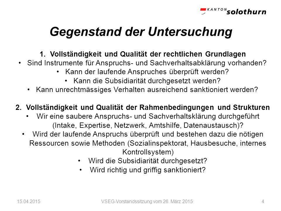 Gegenstand der Untersuchung VSEG-Vorstandssitzung vom 26.