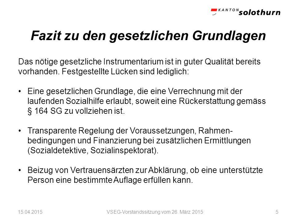 Fazit zu den Strukturen und Rahmenbedingungen VSEG-Vorstandssitzung vom 26.